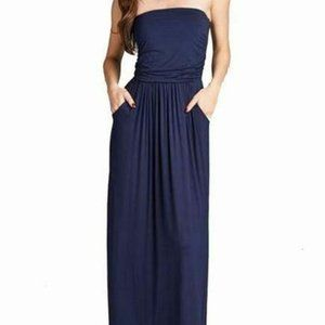 Sweet Pea Navy Strapless Maxi Dress size Large
